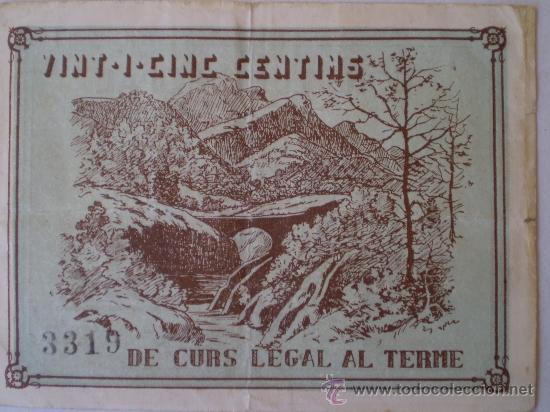 Billetes locales: Consell Municipal de Vilada 25 Centimos Raro Sin Fecha Guerra Civil - Foto 2 - 13755350