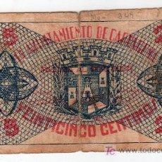 Billetes locales: BILLETE DE 25 CENTIMOS DEL AYUNTAMIENTO DE CARTAGENA JUNIO 1937. Lote 23823657