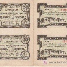 Billetes locales: CUATRO BILLETES LOCAL SIN CORTAR NI CIRCULAR DE CINCUENTA CENTIMOS AJUNTAMENT L´AMETLLA DE MAR 1938. Lote 27180244
