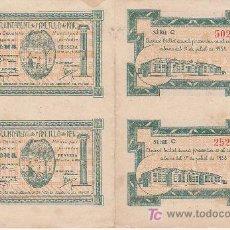 Billetes locales: CUATRO BILLETES LOCAL SIN CORTAR NI CIRCULAR DE UNA PESETA AJUNTAMENT L´AMETLLA DE MAR 1938. Lote 27077393