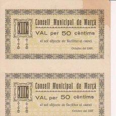 Billetes locales: CUATRO BILLETES LOCAL SIN CORTAR NI CIRCULAR DE CINCUENTA CENTIMOS CONSELL MUNICIPAL DE MARÇA 1937. Lote 27077395