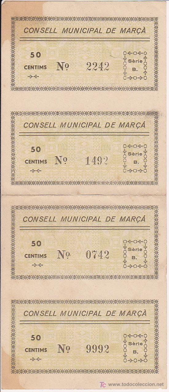 Billetes locales: CUATRO BILLETES LOCAL SIN CORTAR NI CIRCULAR DE CINCUENTA CENTIMOS CONSELL MUNICIPAL DE MARÇA 1937 - Foto 2 - 27077395