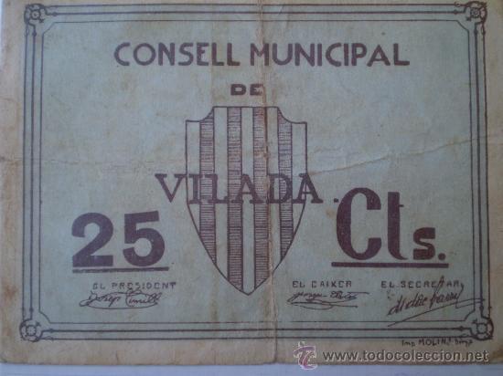 CONSELL MUNICIPAL VILADA 25 CTS GUERRA CIVIL RARO (Numismática - Notafilia - Billetes Locales)