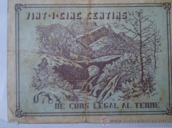 Billetes locales: Consell Municipal Vilada 25 cts Guerra Civil Raro - Foto 2 - 17519233