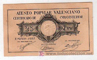 BILLETE DE 25 CENTIMOS SIN CIRCULAR. ATENEO POPULAR VALENCIANO 1937 (Numismática - Notafilia - Billetes Locales)