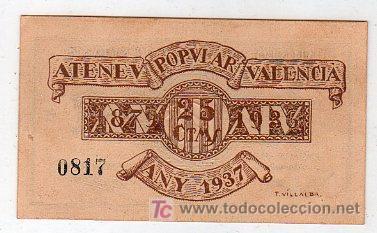 Billetes locales: BILLETE DE 25 CENTIMOS SIN CIRCULAR. ATENEO POPULAR VALENCIANO 1937 - Foto 2 - 24923581