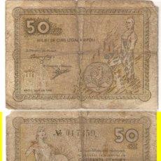 Billetes locales: L13-RIPOLL. 50 CÉNTIMOS. 1937. RC.. Lote 22598966
