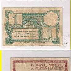 Billetes locales: L22-VILANOVA I LA GELTRÚ. PESETA. SERIE A. 1937. MBC+. Lote 22827567