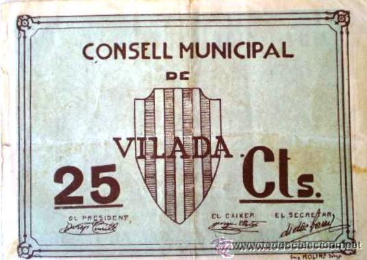 Billetes locales: Consell Municipal de Vilada 25 Centimos Raro Sin Fecha Guerra Civil - Foto 3 - 13755350