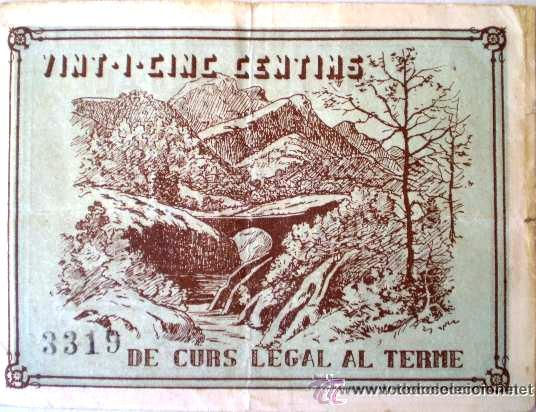 Billetes locales: Consell Municipal de Vilada 25 Centimos Raro Sin Fecha Guerra Civil - Foto 4 - 13755350