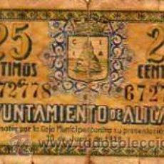 Billetes locales: BILLETE AYUNTAMIENTO DE ALICANTE - 25 CENTIMOS - 1938. Lote 20321515