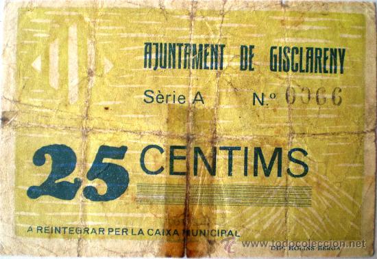 Billetes locales: Gisclareny 25 Centimos Septiembre 1937 Guerra Civil Raro Ver Fotos Numero 66 - Foto 2 - 20753470