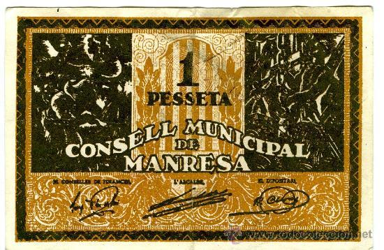 CONSELL MUNICIPAL MANRESA 1 PESETA SERIE B (Numismática - Notafilia - Billetes Locales)