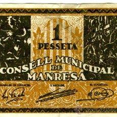 Billetes locales: CONSELL MUNICIPAL MANRESA 1 PESETA SERIE B. Lote 26333027