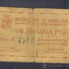 Billetes locales: 1 PTA. DEL AYUNT. DE ANGLES DEL 11-05-1937 ESCASA. Lote 21850100