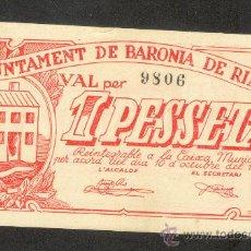 Billetes locales: 1 PTA. DEL AYUNT. DE LA BARONIA DE RIALB. Lote 21851145
