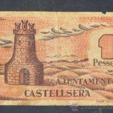 Billetes locales: 1 PTA. DEL AYUNT. DE CASTELLSERA ESCASO MBC. Lote 25244151