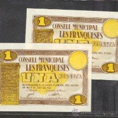 Billetes locales: PAREJA CORRELATIVA DE 1 PTA. DEL AYUNT. DE LES FRANQUESES S/C +++. Lote 24611926