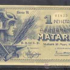 Billetes locales: 1 PTA. DEL AJUNTAMENT DE MATARO MBC. Lote 22851285