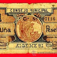 Billetes locales: BILLETE LOCAL , 1 PESETA , ALGEMESI VALENCIA , MBC ,T116. Lote 22873873
