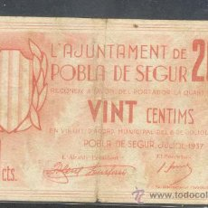 Billetes locales: 20 CTMS DEL AJUNTAMENT DE LA POBLA DE SEGUR. Lote 23086221