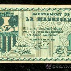Billetes locales: BILLETE DE AJUNTAMENT DE LA MANRESANA. 1 PTA. MBC+.. Lote 24563568