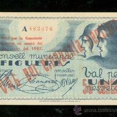 Billetes locales: BILLETE CONSELL MUNICIPAL FIGUERES. VAL PER UNA PESSETA. NUMERADA POR LA ESPALDA.. Lote 24563759