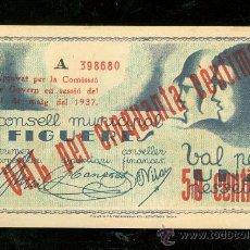 Billetes locales: BILLETE CONSELL MUNICIPAL FIGUERES. VAL PER UNA PESSETA.. Lote 24563780