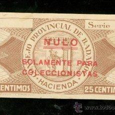 Billetes locales: BILLETE CONSEJO PROVINCIAL DE BADAJOZ. 25 CENTIMOS.. Lote 24563801
