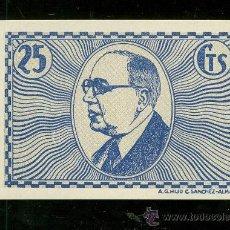 Billetes locales: BILLETE CONSEJO MUNICIPAL DE VILLAFRANCA DE LOS CABALLEROS. 25 CTS.. Lote 116795299