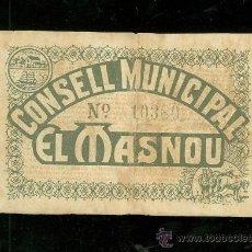 Billetes locales: BILLETE CONSELL MUNICIPAL EL MASNOU.. Lote 24564001
