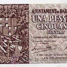 Billetes locales: BILLETE UNA PESETA CINCUENTA CENTIMOS. AJUNTAMENT DE BARCELONA 30 SETEMBRE 1937. Lote 25348569