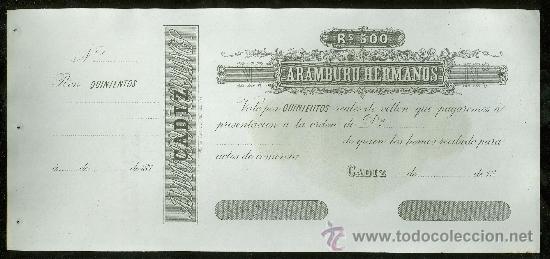 CADIZ. BANCA ARAMBURU HERMANOS. 1870. 500 REALES DE VELLON. (Numismática - Notafilia - Billetes Locales)