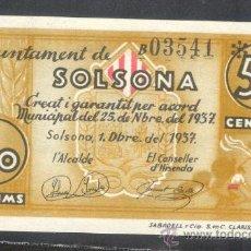 Billetes locales: 50 CTMS DEL AJUNTAMENT DE SOLSONA . Lote 28122551