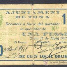 Billetes locales: 1 PTA DEL AJUNTAMENT DE TONA . Lote 28122572