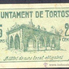 Billetes locales: 25 CTMS DEL AJUNTAMENT DE TORTOSA - MBC+. Lote 28122609