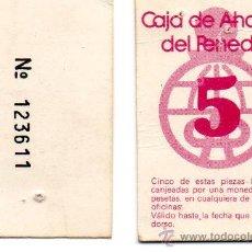 Billetes locales: VALE 5 PESETAS. CAJA AHORROS PENEDES. PANADES. CAIXA PENEDES. AÑOS 1970.. Lote 179215525