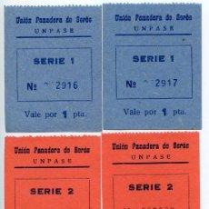 Billetes locales: LOTE DE 2 VALES DE LA UNIÓN PANADERA DE SEROS. Lote 28281403