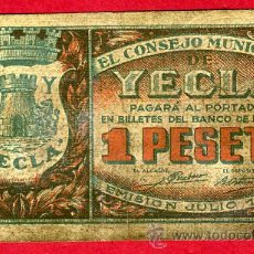 Billetes locales: BILLETE LOCAL GUERRA CIVIL, YECLA MURCIA , 1 PESETA 1937 , BC+. ORIGINAL.. Lote 28384271