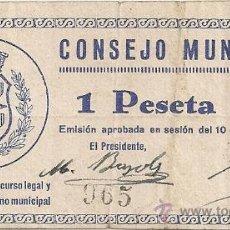 Billetes locales: 1 PESETA DE SARIÑENA. Lote 28710477