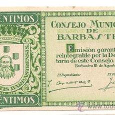 Billetes locales: 50 CÉNTIMOS DE BARBASTRO (C. MUNICIPAL) RARO SIN NUMERACIÓN. Lote 28710618