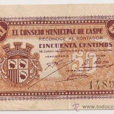 Billetes locales: 50 CÉNTIMOS DE CASPE (CONSEJO MUNICIPAL) SIN LA Nº RARO. Lote 28713384