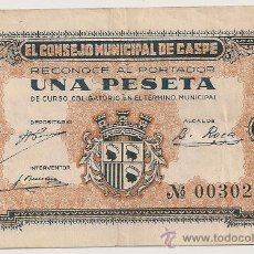 Billetes locales: 1 PESETA DE CASPE (CONSEJO MUNICIPAL). Lote 28717547