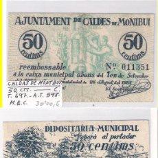 Billetes locales: L92-BILLETE LOCAL. CALDAS DE MONTBUI. 50 CÉNTIMOS. 1937. MBC.. Lote 28832266