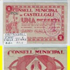 Billetes locales: L103-BILLETE LOCAL. CASTELLGALÍ. PESETA. 1937. ESCASO. MBC.. Lote 28842009
