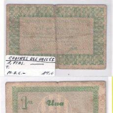 Billetes locales: L124-BILLETE LOCAL. CODINES DEL VALLÈS. PTA. 1937. MBC-. Lote 28843745