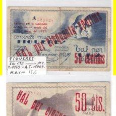 Billetes locales: BILLETE LOCAL. FIGUERES. 50 CÉNTIMOS. 1937. MBC- (L135).. Lote 28845330