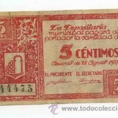 Billetes locales: BILLETE LOCAL DE GRAUS 005 PESETAS - 1937. Lote 28870501