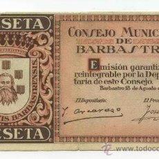 Billetes locales: BILLETE LOCAL BARBASTRO 1 PESETAS - 1937. Lote 28870657