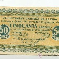 Billetes locales: BILLETE LOCAL ARTESA DE LLEIDA 050 PESETAS - 1937. Lote 28870710